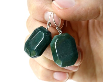 Moss Agate Earrings . Rectangle Earrings . Chunky Earrings . Green Gemstone Earrings Sterling Silver - Dunedin Collection