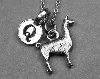 Llama necklace, Llama charm, Lama necklace, personalized necklace, personalized jewelry, initial necklace, initial jewelry, initial charm
