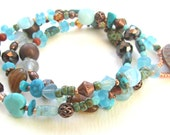 Triple Wrap Beaded Bracelet with Copper, Turquoise, and Pressed Glass