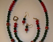 Red & Green Necklace Bracelet Earring Set with Green Red and Gold Faceted Crystal Beads