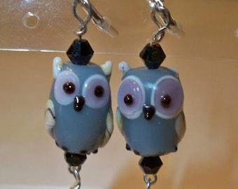 Gray Owl Earrings, Owl Earrings with Crystal Dangles, Glass Owl Earrings, Gray Owl Earrings with Black Crystal Bead Dangles, Glass Owl beads