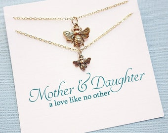 Mother Daughter Necklace | Bee Necklace, Mother Daughter Jewelry Set, Gifts for Mom, Mother Daughter Gift, Mom, Botanical Jewelry | MD04