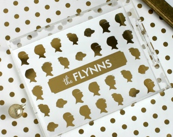 Custom Silhouette Lucite Tray with Gold Foil Silhouettes - Personalized Lucite Tray - Customized with YOUR OWN Silhouettes