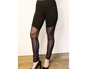Black Cotton and Mesh Leggings S M L XL 2XL 3XL inseam 26 28 30 plus size sheer stretch spandex punk goth stretch pants high waist waisted
