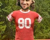 80s vintage t-shirt jersey football uniform ringer flock tee adult XS kids XL 1980