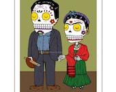 Frida and Diego Calaveras Archival Art Print 8 x 10