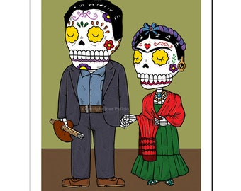 Frida and Diego Calaveras Archival Art Print 8 x 10
