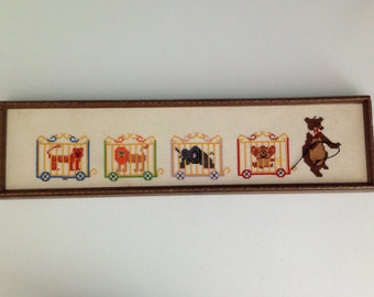 Vintage Crossstitch Circus Bear Wall Hanging