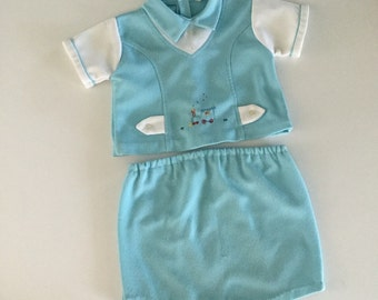 Vintage Baby Boy Train Shirt and Pants Two Piece Outfit 6-9 months