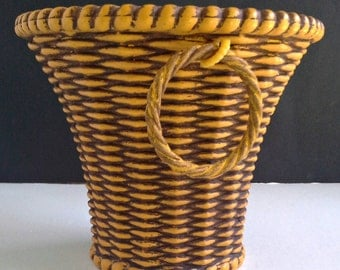 Italian Yellow Basketweave Planter Hard Plastic Made in Italy