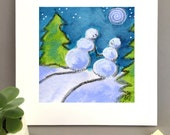 Snowman Love painting Giclée print, whimsical art, moonlit stroll, snowmen art, winter painting, 2016 calendar by Bernadette Artwork