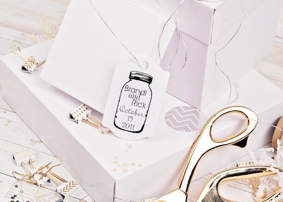 Mason Jar custom rubber stamp for DIY personalized wedding favors
