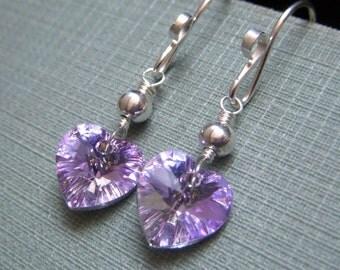 Lavender Heart Earrings, Valentine Jewelry Gift Swarovski Crystal Heart Sterling Silver Earrings, Light Vitrail Dangle