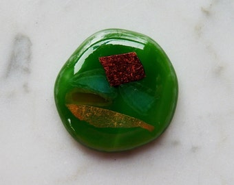 Fused Glass Cab 22 - Sparkling Gold Dichro over Green