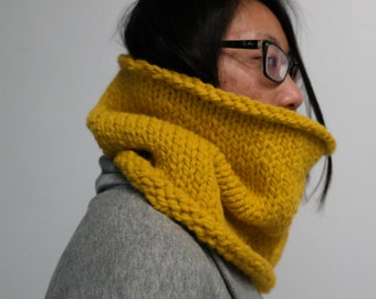 Cozy Knitted Cowl, Chunky Neckwarmer Scarf in Mustard Yellow/Floral/Icicle Gray