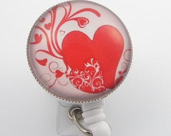 Magnetic ID Badge Holder - Red Heart on White Photo Glass on  White Badge Reel