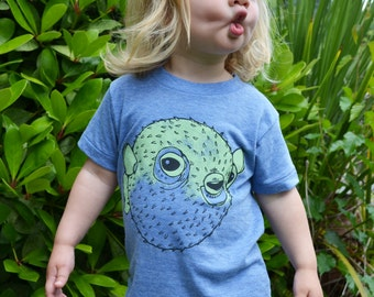 Puffer fish porcupine fish ocean shirt Kids shirt Toddler Animal shirt screenprinted tee unisex