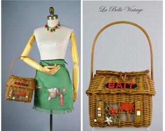 Pinup Bait ~ Vintage 1950s Novelty Wicker Basket Purse & Apron ~ The Ultimate Lobster Bake Set