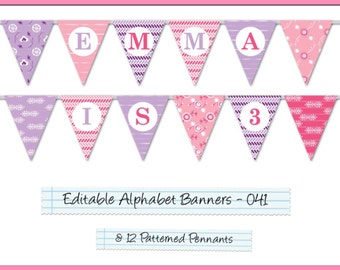 Editable Printable Banner Pennants Alphabet Garland For Parties/Celebrations, Happy Birthday Banner, Wedding Banner, Welcome Home AB-041-EP