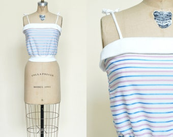 1970s Striped Tank Top --- Vintage Blouse