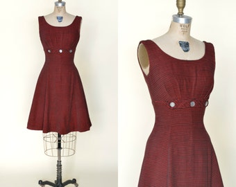 Vintage Holiday Dress --- 1960s Red Striped Dress
