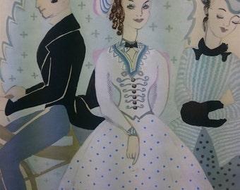 VIntage Crinoline Ladies and Man Original Watercolor Painting  1930's