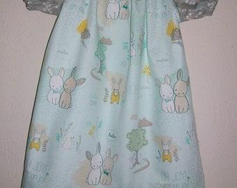 Short Sleeve Dress Peasant Dress with Bunnies Littlest Bunny Dress Furry Tales Art Gallery Mint and Grey Summer dress toddler dress girls