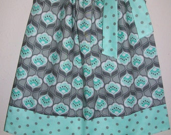 Pillowcase Dresses Floral Dresses Grey and Mint Dress with Flowers Summer Dresses baby girl dress for a wedding toddler dresses Polka Dots