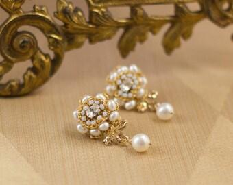 "Gold Wedding Stud Earrings | Ivory Pearl & Lace Wedding Drop Earrings | Vintage Inspired, Edwardian Wedding | ""Rosamonde"""