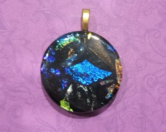 One of a Kind Pendant, Black, Royal Blue, Purple, Orange Green, Fused Glass Jewelry - Eloise- -6