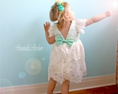 Floral Off-White Lace Dress, with Mint for Toddler and Girl, Flower Girl, Baptism, Communion, Special Occasion