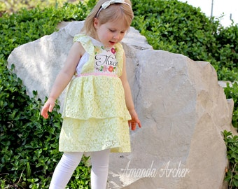 3rd Birthday Party Dress, yellow lace more color options, toddler girl