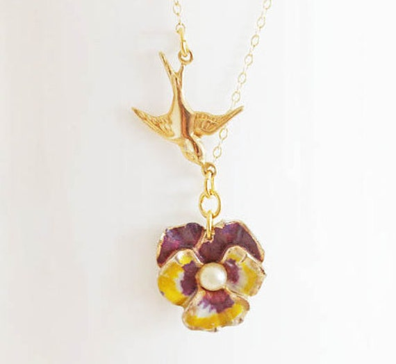 Pansy Necklace Flower Jewelry Pansy Flower Necklace Bridesmaid Gift Vintage Pansy Necklace