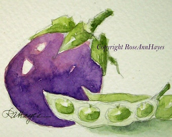 Original Watercolor Painting Eggplant Limas Vegetable Veggie Garden Still Life ACEO