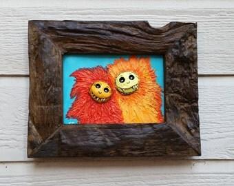 Monster Painting, Framed Acrylic Monster Art