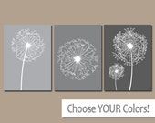 DANDELION Wall Art, Gray Bedroom Pictures, CANVAS or Prints Bathroom Artwork, Bedroom Pictures, Flower Wall Art, Dandelion Set of 3 Home
