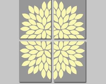 YELLOW Gray Wall Art, CANVAS or Prints, Flower Bedroom Pictures, Yellow Gray Bathroom Artwork, Flower Burst Decor, Dahlia Petals Set of 4