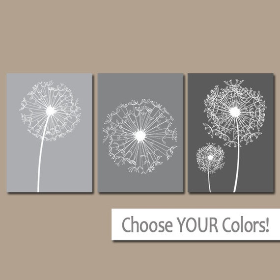 Like this item. DANDELION Wall Art Gray Ombre Bedroom Pictures CANVAS or