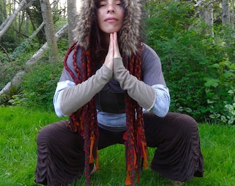 Festival Clothing, Hippie Clothes, Eco Gypsy Clothing, Scoodie, Original Intergalactic Apparel hood with Falls