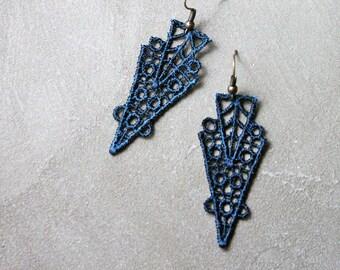teal lace earrings // ZAHRA // geometric earrings / art deco earrings, modern earrings,  boho earrings, geometric earrings