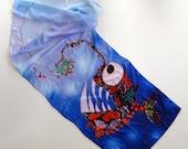 Silk scarf with Whimsical Angler Fish