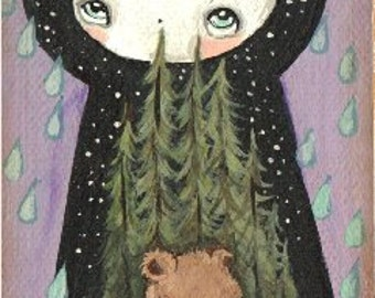 "Dream Bear Original Painting Canvas on Wood Art Moon 2.5"" x 6"""