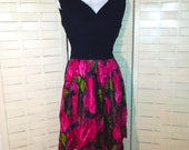 pretty 1960s cocktail vintage party dress floral red rose silk skirt Gigi Young New York