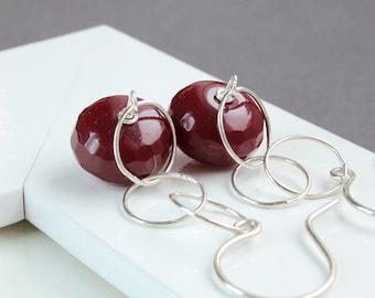 Red Quartz     Earrings  Sterling Silver Long Dangle Earrings Handmade Gemstone Jewelry   Gem Stone Jewelry  Accessories Quartz  Jewellery