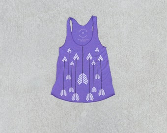 The Headhunter - women's tank top, graphic tank women, boho arrow print on heather purple, gift for her, racer back tank - CLOSEOUT