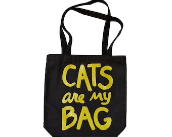 "Funny Cat Tote Bag ""Cats are my Bag"", gift for women, cat lover gift for mom cat lover gift crazy cat lady bag, book bag text bag, teen gift"