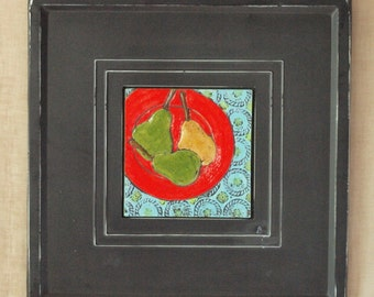 Tile Wall Art Kitchen Wall Art Tile Art Red Plate with Pears Raku Clay Tile Wall Art Framed Colorful Ceramic Pottery Boho Home Decor