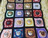 Vintage Crochet Blanket Afghan Colorful Black Cats Kittens