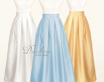 Duchess satin fully lined custom pleated maxi long skirt with pockets in light blue, red, navy for your wedding, special occasion, party