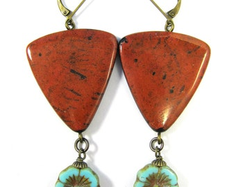 Polymer Clay Earrings - Southwestern Landscapes Series - Brave Spirit Faux Coral Earrings with Turquoise Czech Glass Flower Beads